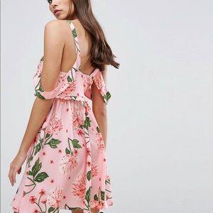 ASOS Dresses - Pink Floral frilly Cold Shoulder Dress
